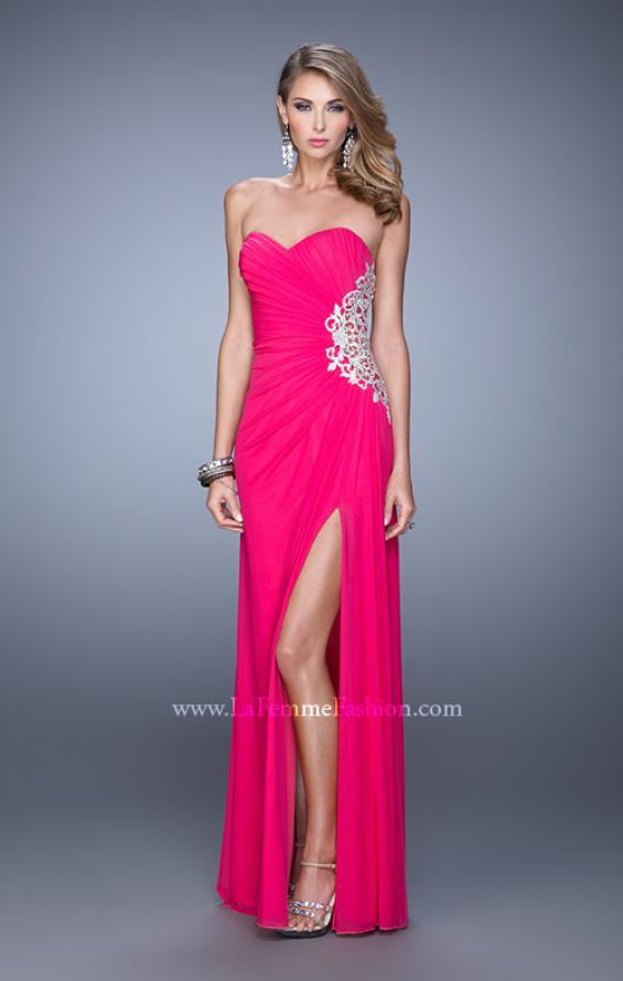 Picture of: Glam Prom Dress with Sheer Cut Outs and Embroidery, Style: 21115, Detail Picture 4