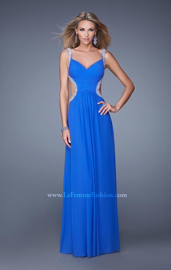 Picture of: Crisscross Gathered Bodice Prom Dress with Beaded Straps, Style: 21123, Main Picture