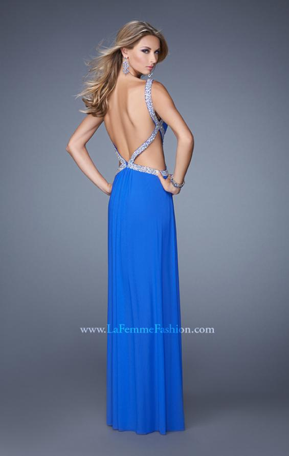 Picture of: Crisscross Gathered Bodice Prom Dress with Beaded Straps, Style: 21123, Back Picture