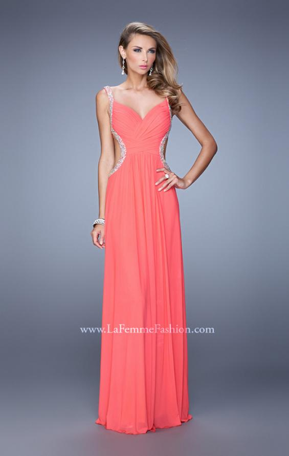 Picture of: Crisscross Gathered Bodice Prom Dress with Beaded Straps, Style: 21123, Detail Picture 2