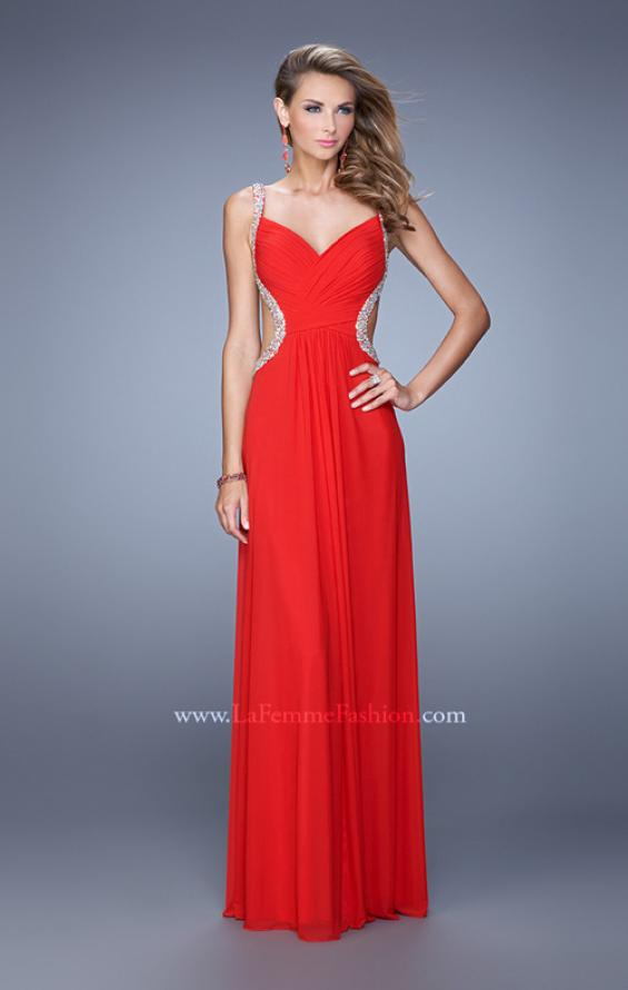 Picture of: Crisscross Gathered Bodice Prom Dress with Beaded Straps, Style: 21123, Detail Picture 3