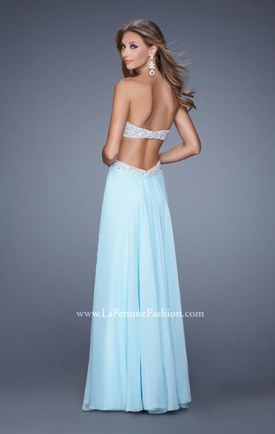 Picture of: Pretty Chiffon Prom Dress with Pearls and Rhinestones, Style: 21128, Back Picture