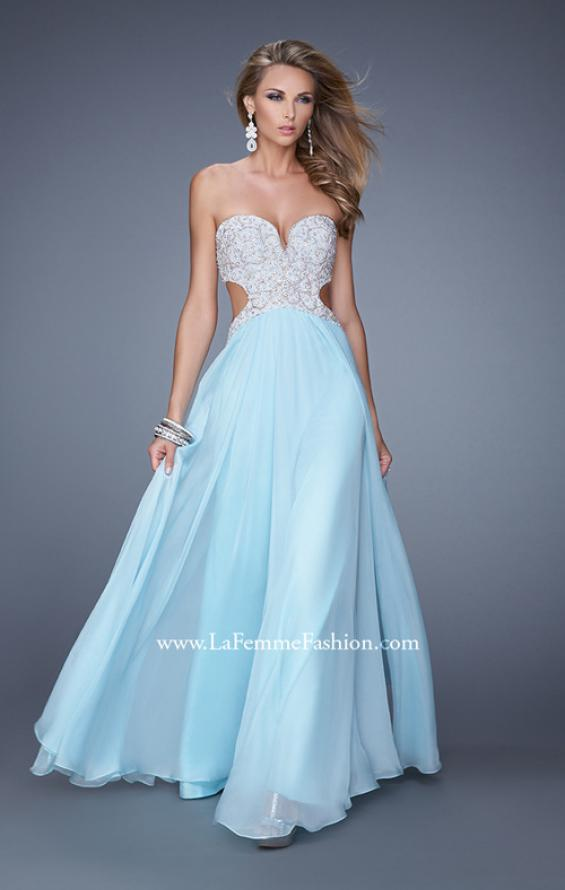 Picture of: Pretty Chiffon Prom Dress with Pearls and Rhinestones, Style: 21128, Detail Picture 1