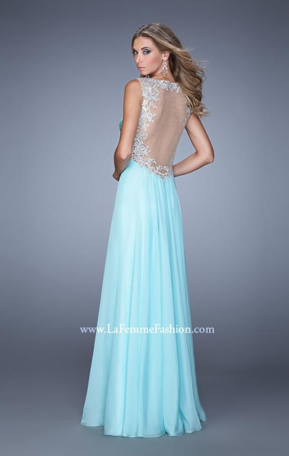 Picture of: Long Chiffon Prom Gown with Sheer Embroidered Straps in Blue, Style: 21130, Back Picture