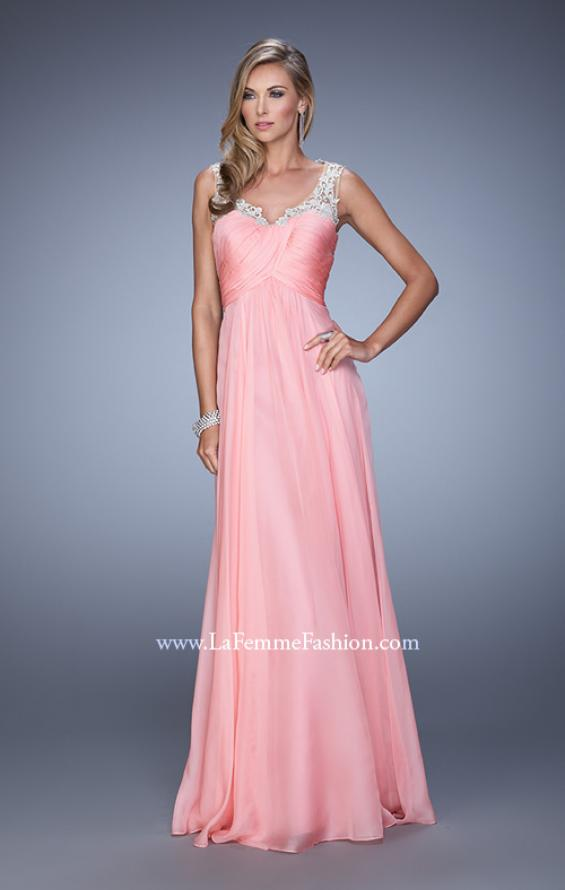 Picture of: Long Chiffon Prom Gown with Sheer Embroidered Straps in Coral, Style: 21130, Detail Picture 1