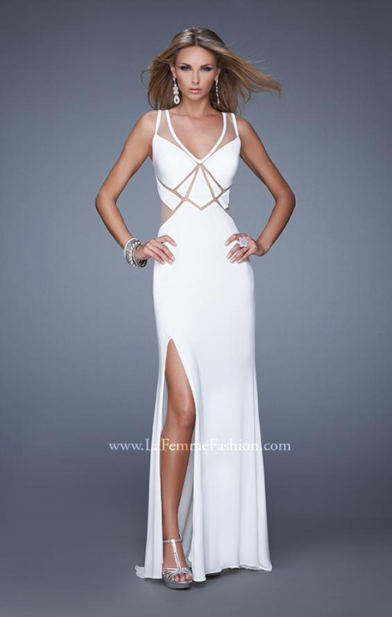 Picture of: Elegant Fitted Prom Dress with V Neck and Side Slit in White, Style: 21140, Main Picture