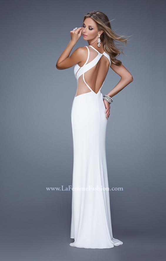 Picture of: Elegant Fitted Prom Dress with V Neck and Side Slit in White, Style: 21140, Back Picture