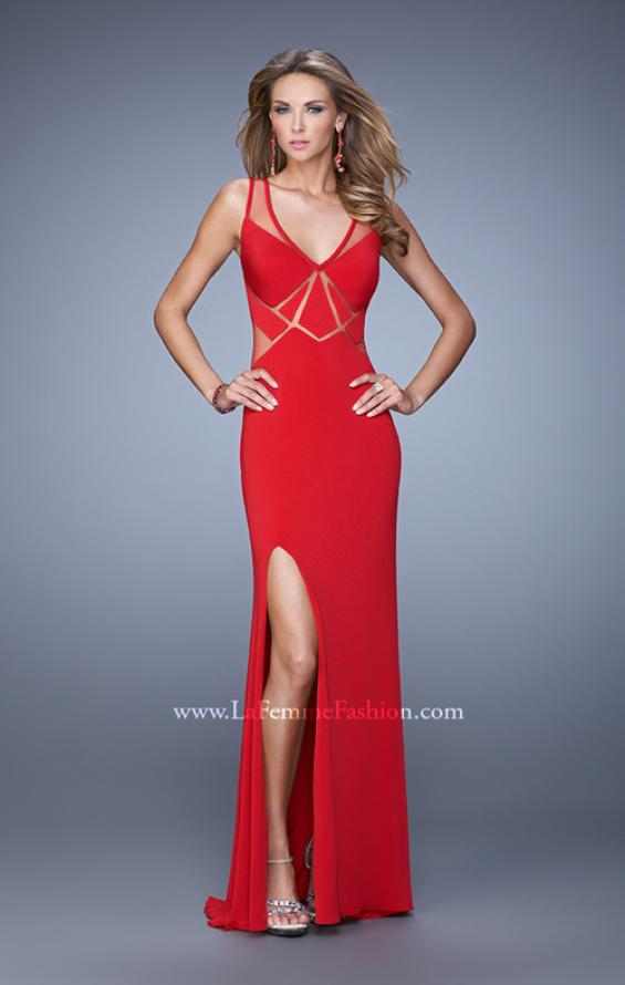 Picture of: Elegant Fitted Prom Dress with V Neck and Side Slit in Red, Style: 21140, Detail Picture 1