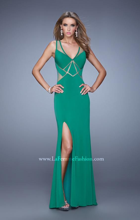 Picture of: Elegant Fitted Prom Dress with V Neck and Side Slit in Green, Style: 21140, Detail Picture 4
