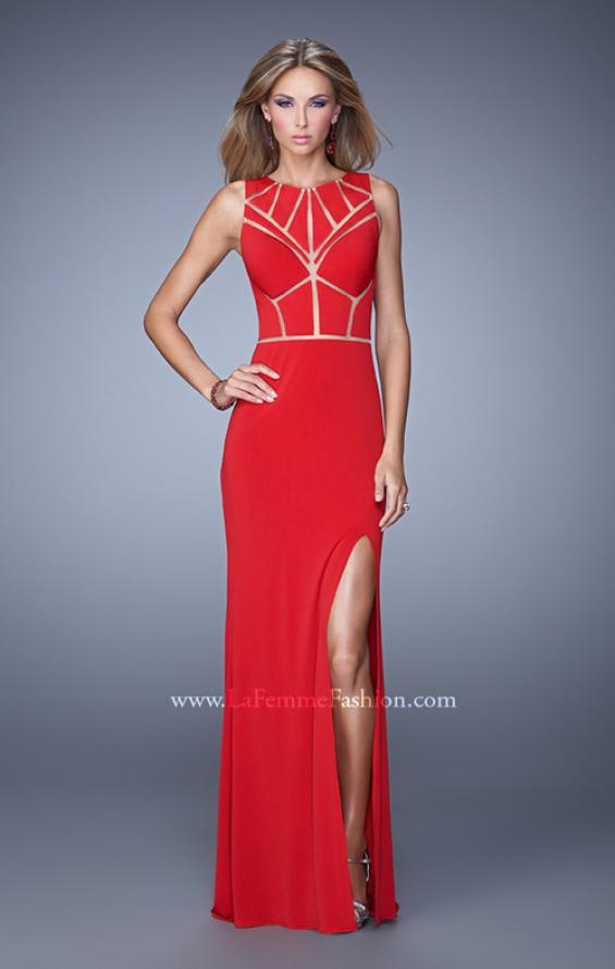 Picture of: Sleeveless Prom Dress with Geometric Patterned Bodice in Red, Style: 21141, Main Picture