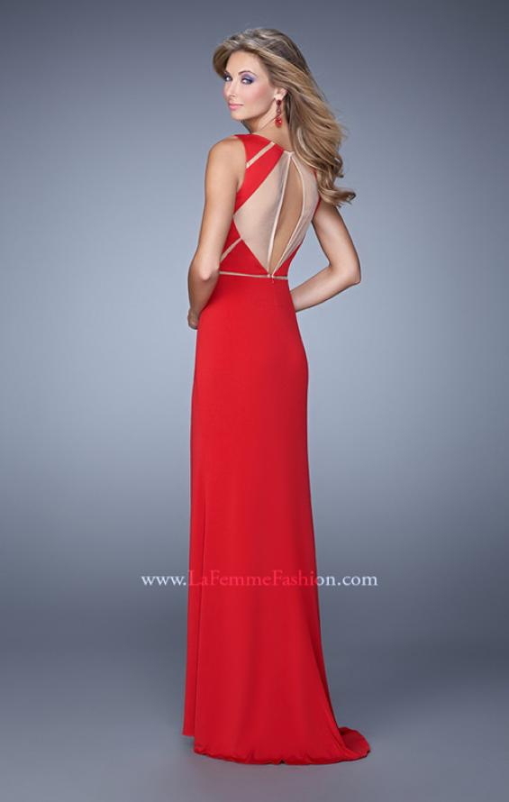 Picture of: Sleeveless Prom Dress with Geometric Patterned Bodice in Red, Style: 21141, Back Picture