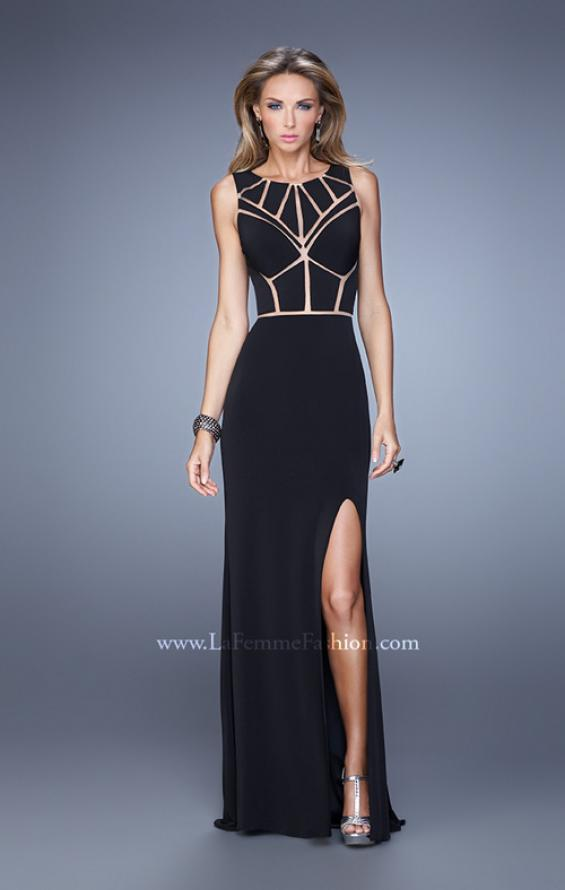 Picture of: Sleeveless Prom Dress with Geometric Patterned Bodice in Black, Style: 21141, Detail Picture 1
