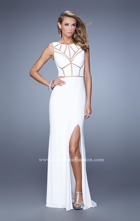 Picture of: Sleeveless Prom Dress with Geometric Patterned Bodice in White, Style: 21141, Detail Picture 2