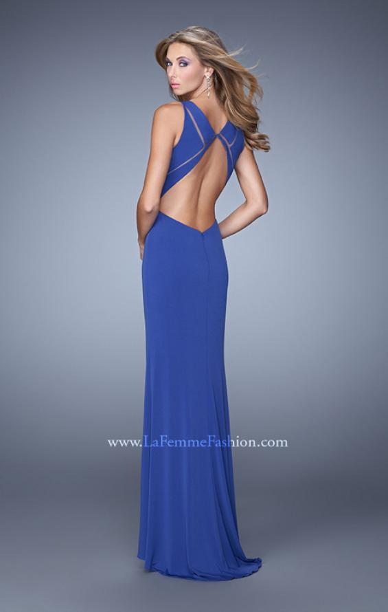 Picture of: Fitted Geometric Prom Dress with V Neck and Slit in Blue, Style: 21142, Back Picture