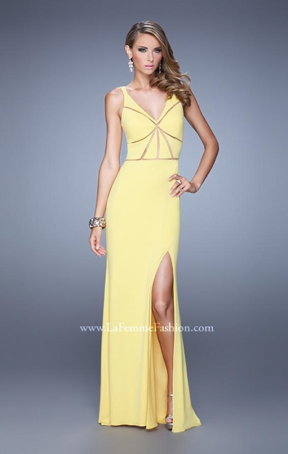 Picture of: Fitted Geometric Prom Dress with V Neck and Slit in Yellow, Style: 21142, Detail Picture 1
