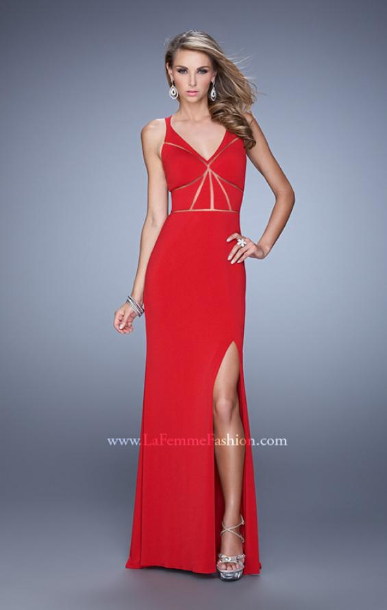 Picture of: Fitted Geometric Prom Dress with V Neck and Slit in Red, Style: 21142, Detail Picture 2