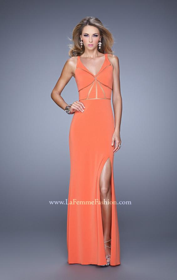 Picture of: Fitted Geometric Prom Dress with V Neck and Slit in Orange, Style: 21142, Detail Picture 3