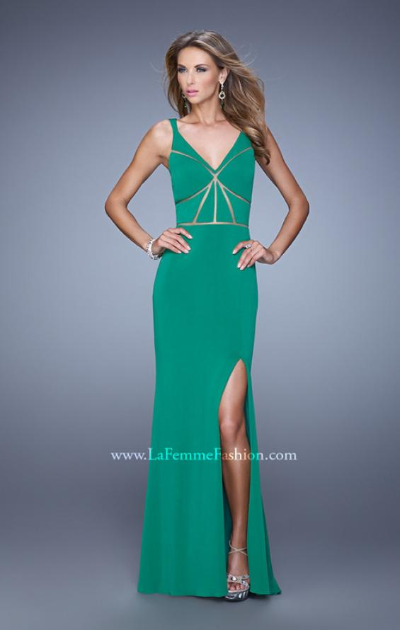 Picture of: Fitted Geometric Prom Dress with V Neck and Slit in Green, Style: 21142, Detail Picture 4