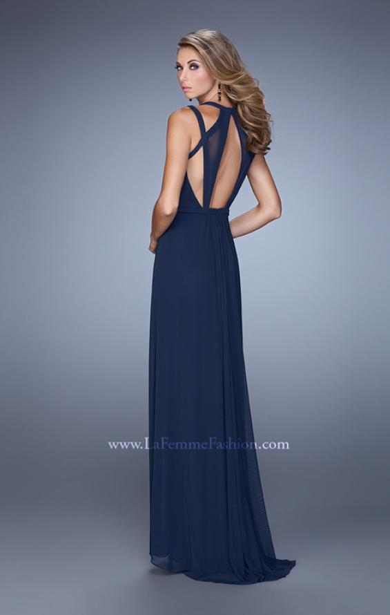 Picture of: Simple Long Jersey Prom Dress with Crisscross Straps, Style: 21143, Back Picture