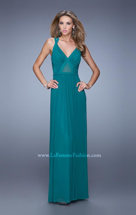 Picture of: Simple Long Jersey Prom Dress with Crisscross Straps, Style: 21143, Detail Picture 1