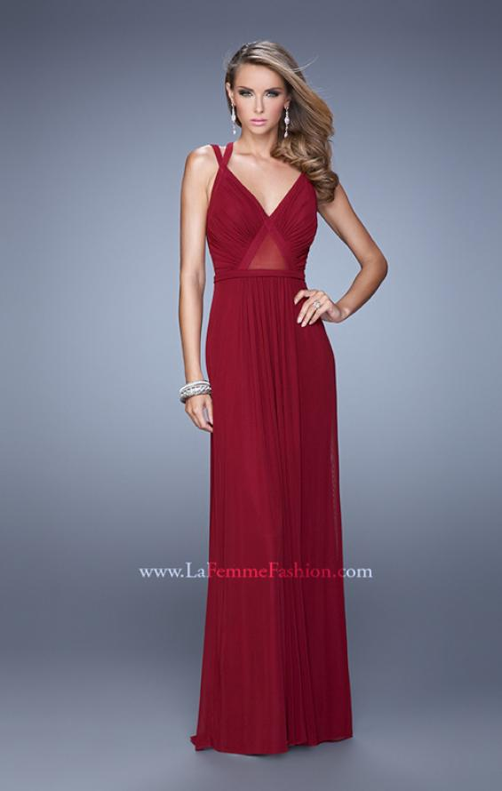 Picture of: Simple Long Jersey Prom Dress with Crisscross Straps, Style: 21143, Detail Picture 2