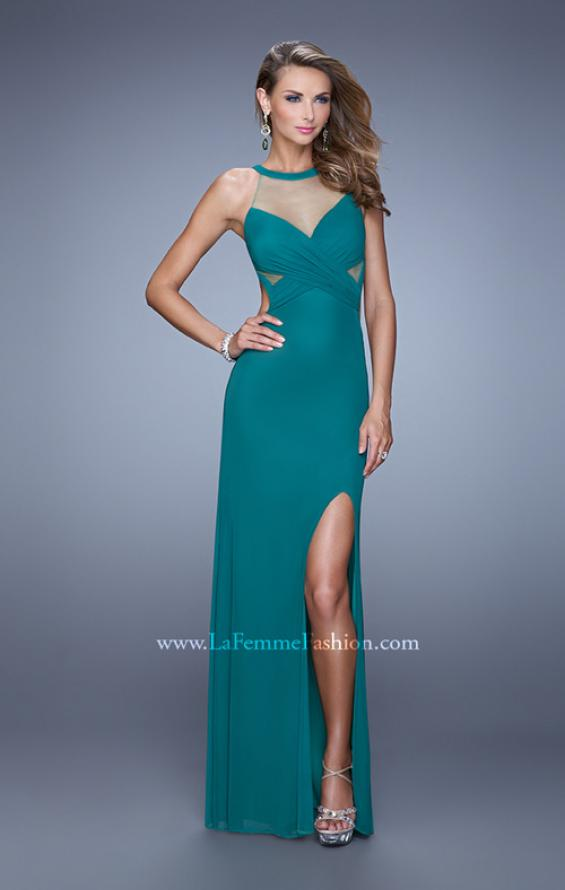 Picture of: Long Prom Gown with Ruched Bodice and Open Back, Style: 21144, Detail Picture 1