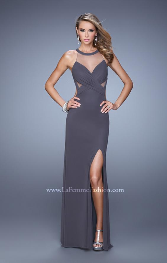 Picture of: Long Prom Gown with Ruched Bodice and Open Back, Style: 21144, Detail Picture 2