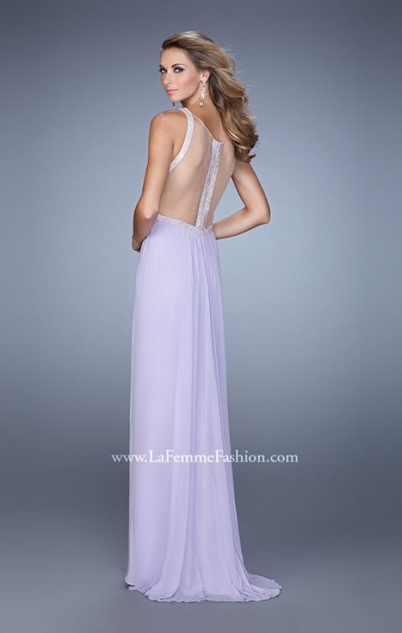 Picture of: Modern Jersey Prom Dress with High Neck and Gathering, Style: 21145, Back Picture
