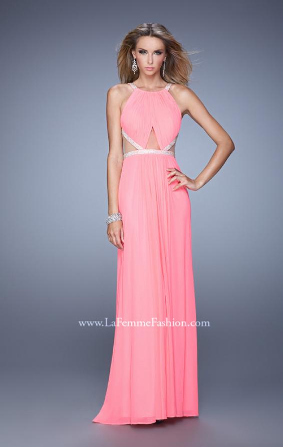 Picture of: Modern Jersey Prom Dress with High Neck and Gathering, Style: 21145, Detail Picture 1