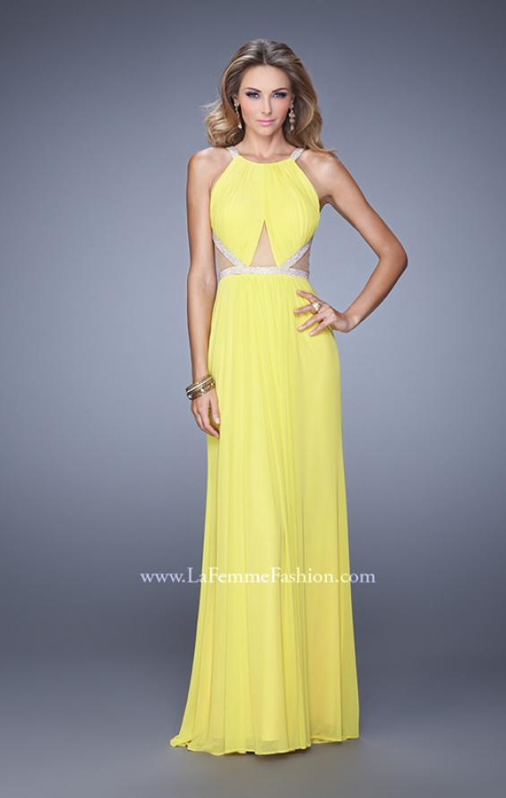 Picture of: Modern Jersey Prom Dress with High Neck and Gathering, Style: 21145, Detail Picture 2