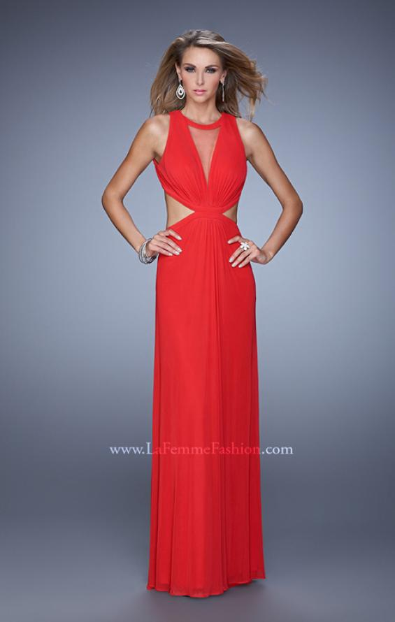 Picture of: High Scoop Neck Long Prom Dress with Side Cut Outs in Red, Style: 21146, Main Picture