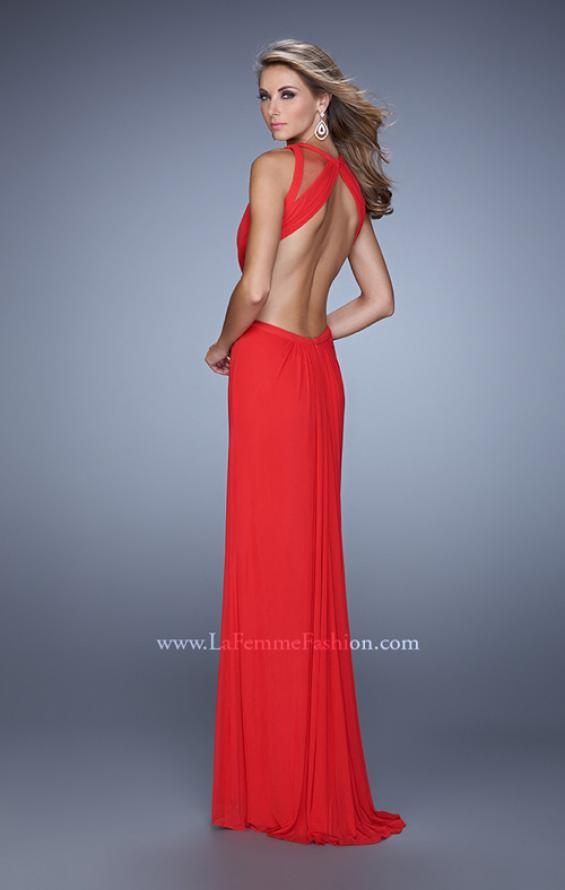 Picture of: High Scoop Neck Long Prom Dress with Side Cut Outs in Red, Style: 21146, Back Picture