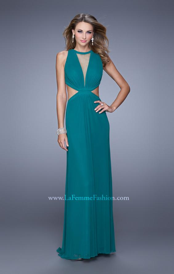 Picture of: High Scoop Neck Long Prom Dress with Side Cut Outs in Green, Style: 21146, Detail Picture 1