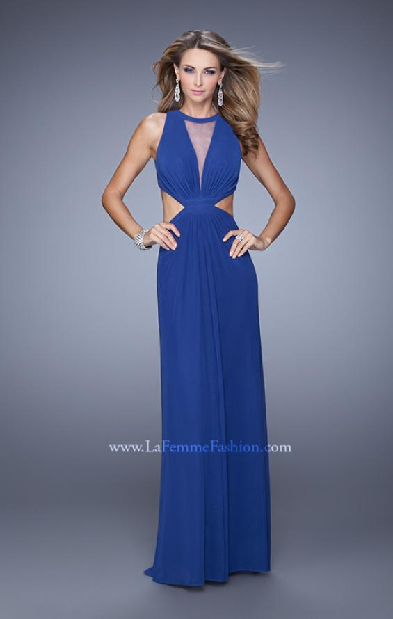 Picture of: High Scoop Neck Long Prom Dress with Side Cut Outs in Blue, Style: 21146, Detail Picture 2