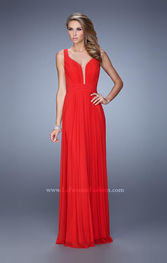 Picture of: Rhinestones V Neck Long Chiffon Prom Dress in Red, Style: 21150, Main Picture