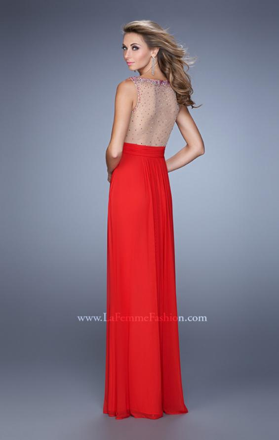 Picture of: Rhinestones V Neck Long Chiffon Prom Dress in Red, Style: 21150, Back Picture