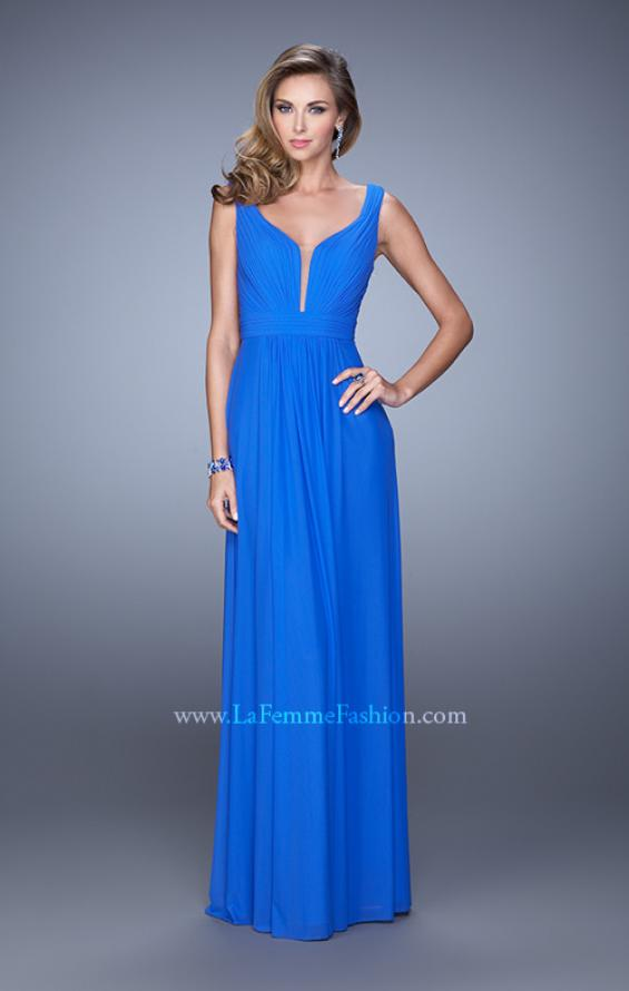 Picture of: Rhinestones V Neck Long Chiffon Prom Dress in Blue, Style: 21150, Detail Picture 2
