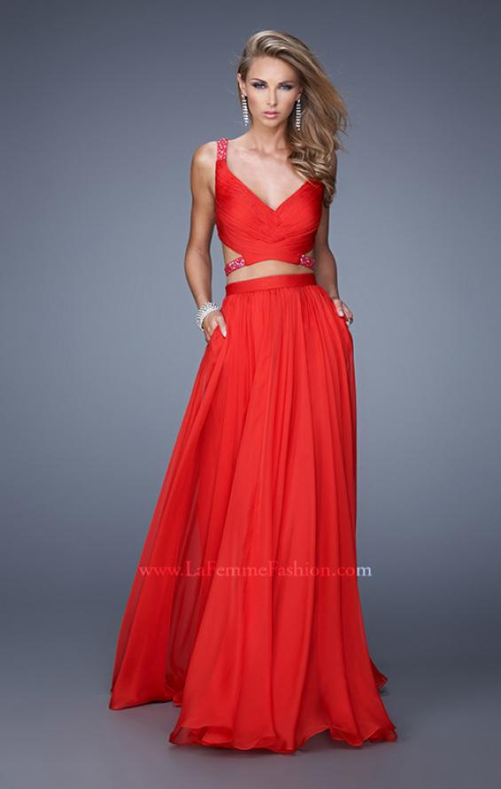 Picture of: Long Two Piece Prom Dress with Iridescent Straps in Red, Style: 21152, Main Picture