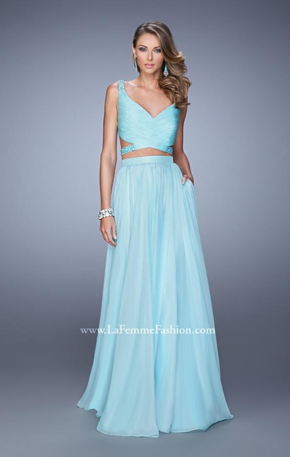 Picture of: Long Two Piece Prom Dress with Iridescent Straps in Mint, Style: 21152, Detail Picture 1
