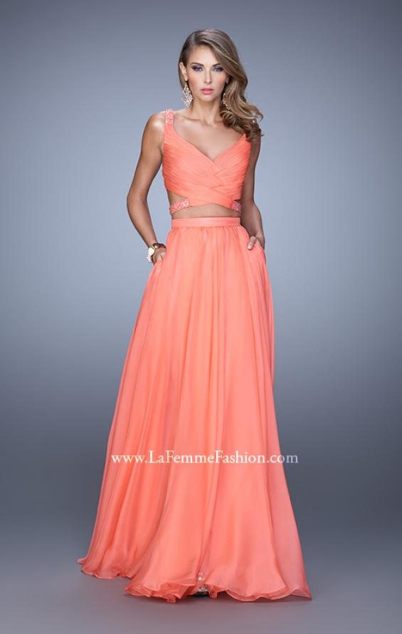 Picture of: Long Two Piece Prom Dress with Iridescent Straps in Coral, Style: 21152, Detail Picture 2
