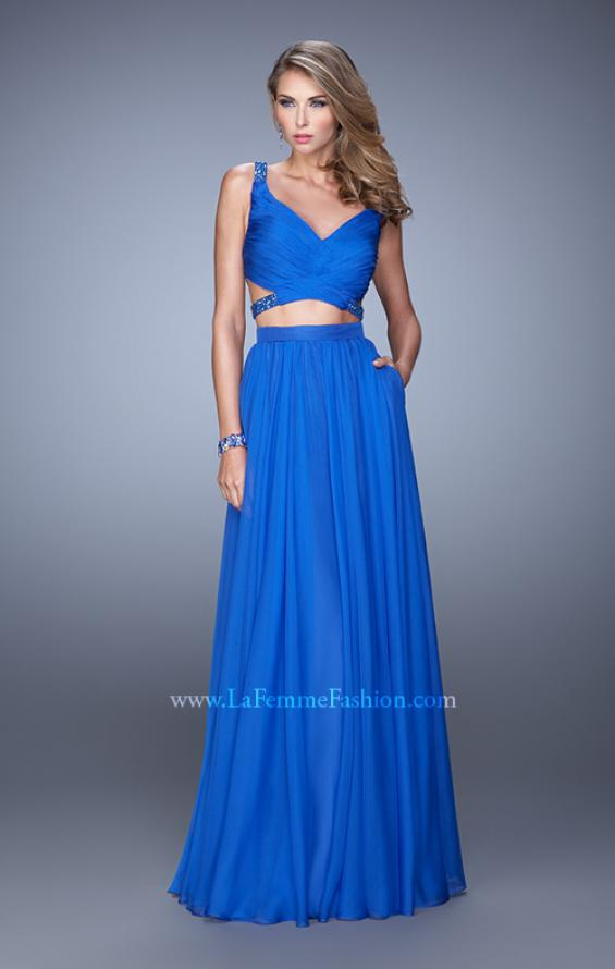Picture of: Long Two Piece Prom Dress with Iridescent Straps in Blue, Style: 21152, Detail Picture 3