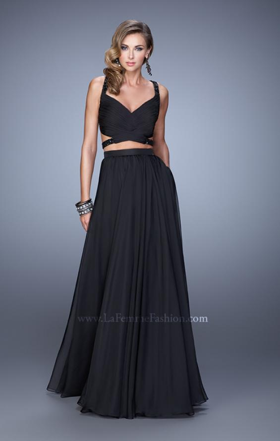 Picture of: Long Two Piece Prom Dress with Iridescent Straps in Black, Style: 21152, Detail Picture 4