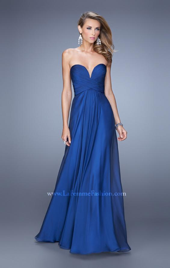 Picture of: Stunning Chiffon Prom Dress with Gathered Bodice in Blue, Style: 21154, Main Picture