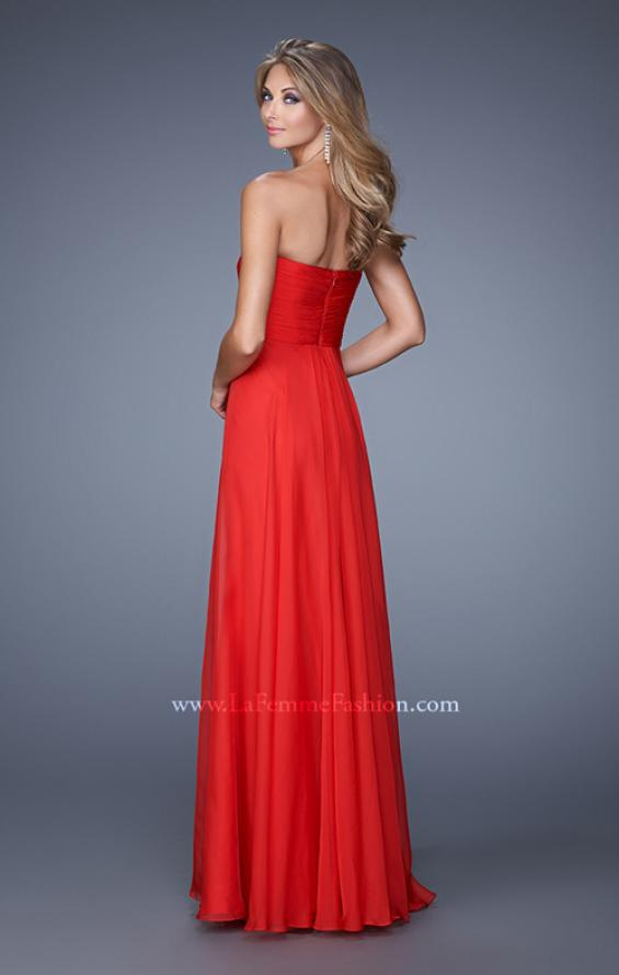 Picture of: Stunning Chiffon Prom Dress with Gathered Bodice in Red, Style: 21154, Back Picture