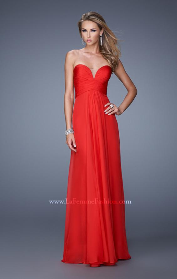 Picture of: Stunning Chiffon Prom Dress with Gathered Bodice in Red, Style: 21154, Detail Picture 1