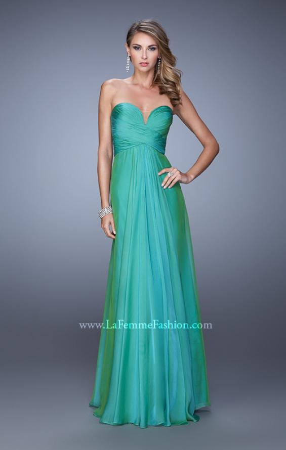 Picture of: Stunning Chiffon Prom Dress with Gathered Bodice in Green, Style: 21154, Detail Picture 2