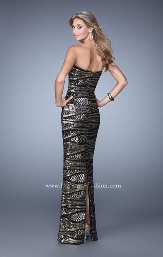 Picture of: Long Fitted Sequin Prom Gown with Back of Dress Slit, Style: 21155, Back Picture