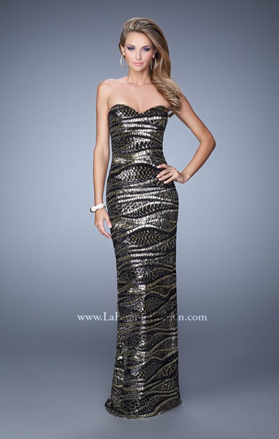 Picture of: Long Fitted Sequin Prom Gown with Back of Dress Slit, Style: 21155, Detail Picture 1