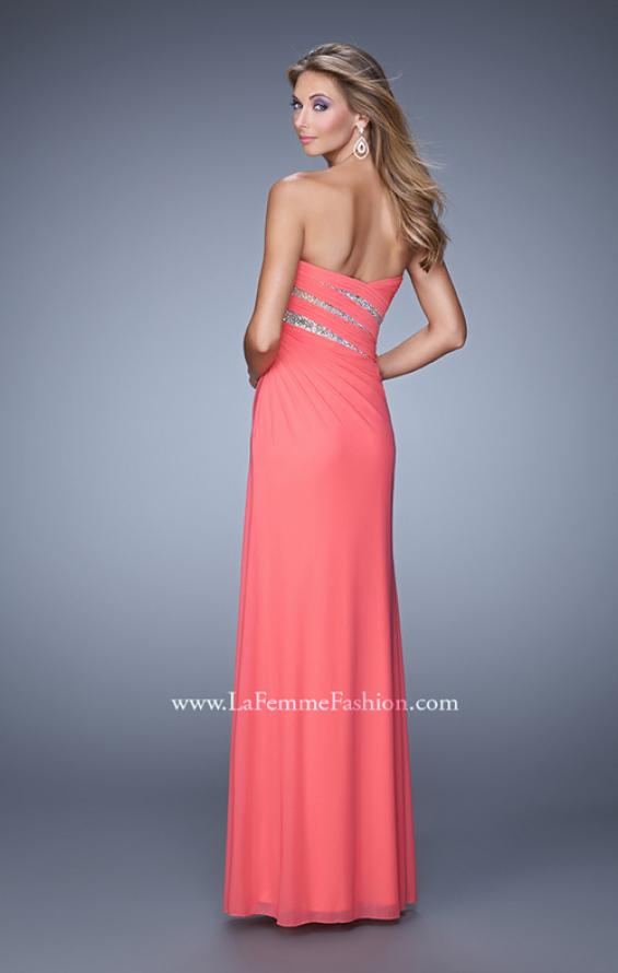 Picture of: Long Jersey Dress with Embellished Sheer Cut Outs in Coral, Style: 21157, Back Picture