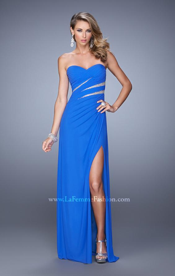 Picture of: Long Jersey Dress with Embellished Sheer Cut Outs in Blue, Style: 21157, Detail Picture 1